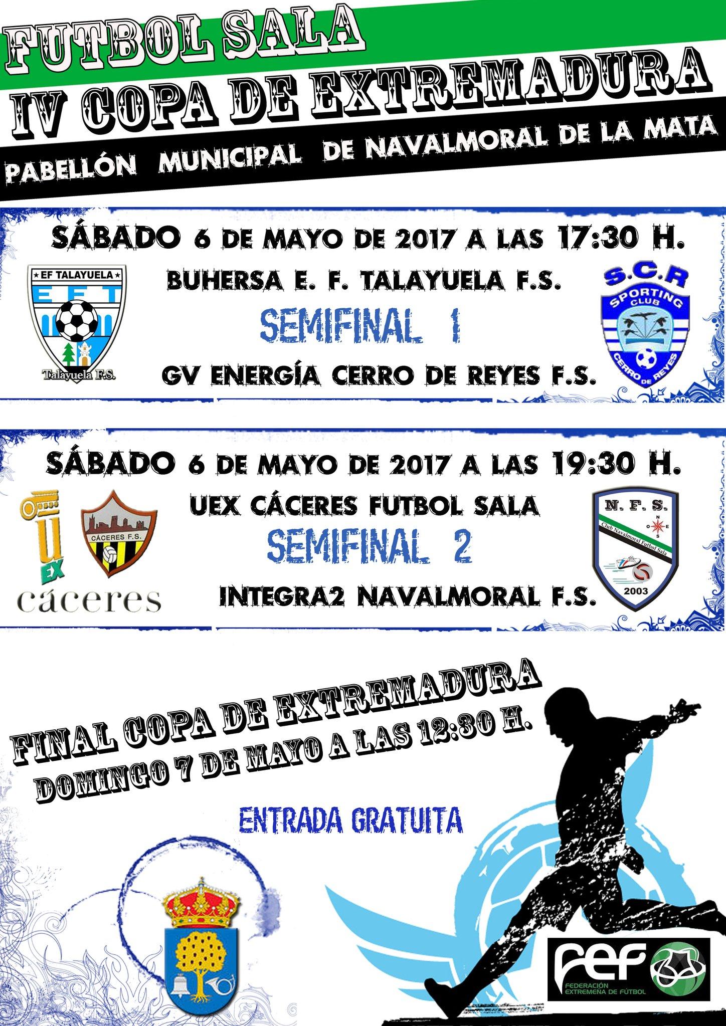 Cartel IV Copa de Extremadura de Fútbol Sala en Navalmoral de la Mata