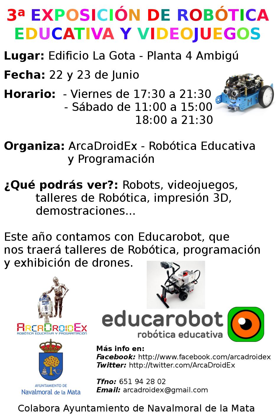 3ª Exposición de Robótica Educativa y videojuegos en Navalmoral de la Mata