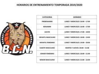 Horarios de entrenamiento de todos los equipos del Basket Club Navalmoral